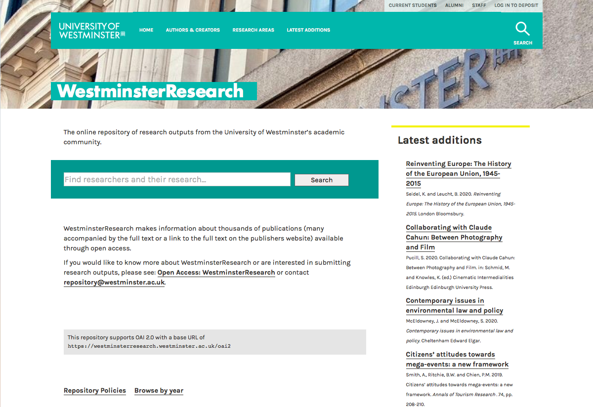 Transforming the University of Westminster Repository